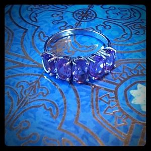 Size 6 sterling silver ring with 5 amethyst